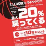 B.リーグ観戦はPayPay(ペイペイ)がお得 最大20%還元キャンペーン開催