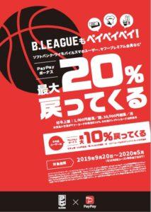 『B.LEAGUEもペイペイペイ!最大20%戻ってくるキャンペーン』ポスター